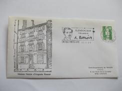 Lettre France Maison Natale D'Auguste Renoir 1991 Cachet Limoges - Storia Postale