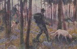 Italian Red Cross Artist Image 'In Search Of Wounded' Soldier With Dog In Woods, C1910s Vintage Postcard - Red Cross