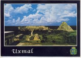 """UXMAL -  Yucatán, Panorámica Del Conjunto """"Las Monjas"""" Y Templo Del Adivino, Nice Stamp - México"""