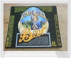 BEER LABEL USA BLEU HEN BEER - Birra