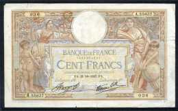 376-France Billet De 100 Francs 1937 FA  A55837 - 1871-1952 Antiguos Francos Circulantes En El XX Siglo