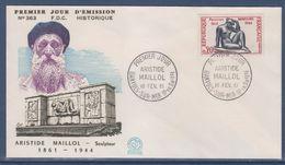 Aristide Maillol Enveloppe 1er Jour N°1281 Banyuls Sur Mer 18.2.61 Sculpteur La Pensée (Hôtel De Ville Perpignan) - FDC