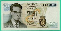20 Francs - Belgique - 15-6-64 - N° 2B 0549463 - Spl - - [ 2] 1831-... : Royaume De Belgique