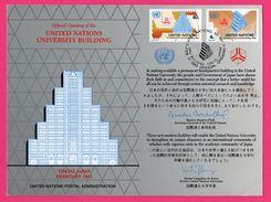Encart - FDC - United Nations University Building - Tokyo - BOUTROS BOUTROS GHALI - HECTOR GURGULINO DE SOUZA - 1993 - New York -  VN Hauptquartier