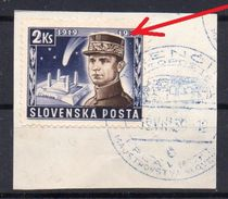 SLOVAKIA 1939  ,  PLATE ERROR   - SNOW ON THE HAT   , M.R.STEFANIK - Used Stamps