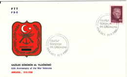 Turkey FDC 19-9-1988 66th Anniversary Of The War Veterans With Cachet - FDC