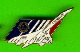 PIN'S, ÉPINGLETTES - CLUB LION 103 FRANCE - AVION CONCORDE, CRÉATION AIR FRANCE - DUSEAUX - - Associations