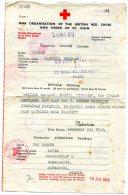 England POW Red Cross Dokument 1943 - 1902-1951 (Rois)