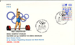 Turkey FDC 5-10-1988 Seoul Olympic Games 60 Kg Category Weightlifting Olympiad And World Records With Cachet - 1921-... République