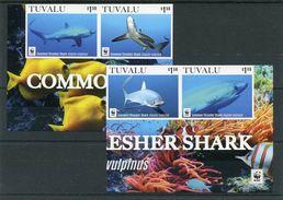 """WWF - Tuvalu - MiNr. 2222 / 2225 - """"Gemeiner Fuchshai"""" Geschnitten / Imperforated ** / MNH  (Jahr 2016) - W.W.F."""