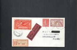 Enveloppe Journee Philatelique D'aviation Le Bourget 1925 Avec Vignette Pour Bruxelles Recommandée Merson Semeuse - Frankrijk