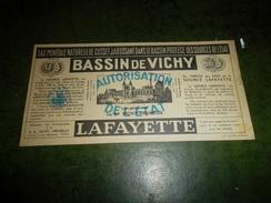 PUBLICITÉ EAU MINÉRALE BASSIN DE VICHY LAFAYETTE - Advertising