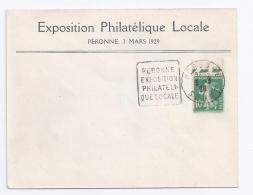 Enveloppe Exposition Philatelique Peronne 1929 Daguin Avec 10 C Semeuse 5 - France