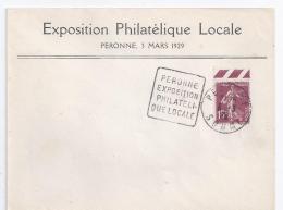 Enveloppe Exposition Philatelique Peronne 1929 Daguin Avec 15 C Semeuse 4 - France