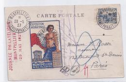 Carte Journee Philatelique Montpellier 1927 Avec Orphelins Et Vignette - France