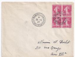 Enveloppe Journee Philatelique Montpellier 1927 Avec Bloc 4 Semeuse  1f10 - France