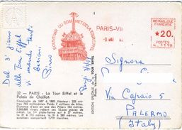 PARIS  LA TOUR EIFFEL  Souvenir Du Sommet De La Tour  1959  CPSM Cachet à Sec - Storia Postale