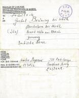 BIGLIETTO PRIGIONIERI POW CAMP 239 BANSTEAD GREAT BRITAIN 1947 OBERHOLZEN B WIEH - Correo Militar (PM)