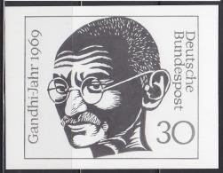 GERMANY (1969) Head Of Gandhi*.  Photo Essay Of Unaccepted Design For Centennial Of Birth.  Scott No 1012, Yvert No 468. - Mahatma Gandhi