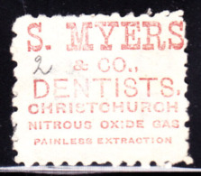 """NEW ZEALAND (1893) Nitrous Oxide.  2 Penny Stamp With Advertisement On Back For """"S. Myers & Co. Dentists, Christchur - 1855-1907 Crown Colony"""