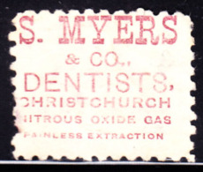 """NEW ZEALAND (1893) Nitrous Oxide.  1 Penny Stamp With Advertisement On Back For """"S. Myers & Co. Dentists, Christchur - 1855-1907 Crown Colony"""