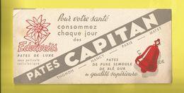 Buvard  Edelweiss Pâtes De Luxe  Pâtes CAPITAN Avec Une CLOCHE  La Savoyarde THONON  NANCY  PARIS  MAYET - Food