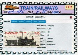 THEMATICS:TOPICS#DENMARK#TRAINS# STEAM LOCOMOTIVE#:AFA986 (TTR-180X-1) (04) - Trenes