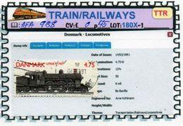 THEMATICS:TOPICS#DENMARK#TRAINS# STEAM LOCOMOTIVE#:AFA988 (TTR-180X-1) (05) - Trenes
