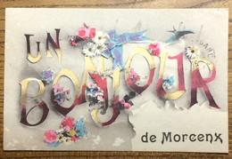 """40 - CPA """" UN BONJOUR DE MORCENX """" - Écrite 1915, Dos BLANC - Morcenx"""