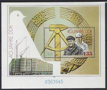 Germany (DDR) 1989 40 Jahre DDR (**) Mi.3283 (block 100) - DDR