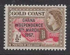 Ghana 1957 Queen Elizabeth 1/2d (**) - Ghana (1957-...)