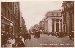 Aberdeen Scotland UK, Union Street Scene From Market Street, Bus, Auto, C1920s Vintage Real Photo Postcard - Aberdeenshire