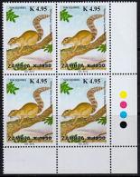 C0008 ZAMBIA 2013, SG 1121 Sun Squirrel Surcharged K4.95, MNH Traffic Light Block Of 4 - Zambie (1965-...)