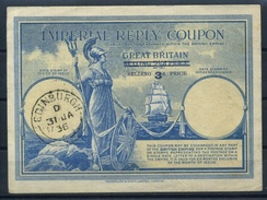 SCOTLAND ( GREAT BRITAIN ) Type I Surcharged 3d. / 2 1/2 D  Imperial Reply Coupon Reponse IRC Britannia O EDINBURGH 1936 - 1902-1951 (Kings)