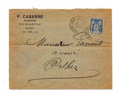 Guinarthe Pour Orthez.  Marbrier P.Cabanne. Lettre 1899. - Marcophilie (Lettres)