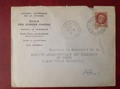Cachet Perlé 13 St SAINT PAUL LEZ DURANCE Ecole Des Gardes Chasse Chasseurs Du Rhone 1943 - Postmark Collection (Covers)