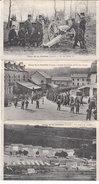 Camp De La Courtine  Creuse  3 Feuillets Photo 14x9 Recto Verso : Avenue Gare , Tir Des Pièces  De75  Etc... - 1914-18