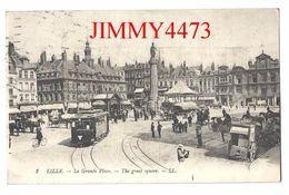 CPA - LILLE 59 Nord - La Grande Place, Bien Animée En 1920, Attelages, Tramway - The Great Square - L L N° 2 Recto-Verso - Lille