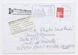 """FRANCE - TVP ROUGE LUQUET N° 3085 (I) SUR LETTRE AVEC VIGNETTE """"RETOUR À L'ENVOYEUR"""" - 1997-04 Maríanne Du 14 Juillet"""