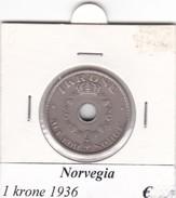 NORVEGIA   1  KRONE   ANNO 1936  COME DA FOTO - Norvegia