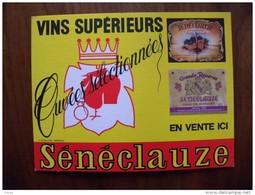 Affichette Cartonnée Ancienne  , Publicité Du Vin Sénéclauze . - Posters