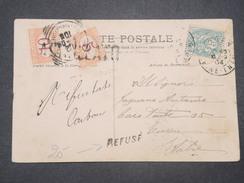 """ITALIE - Taxes De Turin Sur Carte Postale De France En 1904 + Griffe """" Refusé """" - L 9591 - Portomarken"""