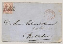 Nederland - 1867 - 10 Cent 2e Emissie Op (deel Van) Omslag Van Utrecht Naar Amsterdam - Periode 1852-1890 (Willem III)
