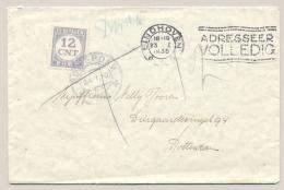 Nederland - 1936 - 12 Cent Portzegel - Enkelfrankering Op Ongefrankeerde Brief Van Eindhoven Naar Rotterdam - Portomarken