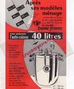 PUBLICITE AUTO CUISEUR 40 LITRES- COCOTTE BONNE FEMME- CUISINE-78- FONDERIES DES FONTAINES-108 BD EMILE ZOLA-FONDERIE - Pubblicitari