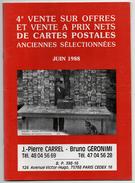 Catalogue Vente Cartes Postales Cartel Géronimi Format 22x18cm 1988 état Superbe - Livres