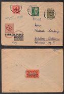 ERINNOPHILIE - CINDERELLA - VIGNETTE / 1949 TIMBRE AVEC SURCHARGE PUBLICITAIRE SUR LETTRE DE CHEMNITZ  (ref LE1514) - Cinderellas