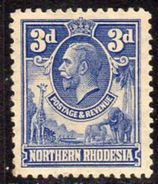 Northern Rhodesia GV 1925-9 3d Giraffe Elephant Definitive, Hinged Mint, SG 5 (BA) - Northern Rhodesia (...-1963)