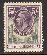 Northern Rhodesia GV 1925-9 5/- Giraffe Elephant Definitive, Hinged Mint, SG 14 (BA) - Northern Rhodesia (...-1963)