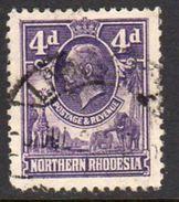 Northern Rhodesia GV 1925-9 4d Giraffe Elephant Definitive, Used, SG 6 (BA) - Northern Rhodesia (...-1963)